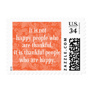 Stylish floral typographical Thanksgiving message. Postage
