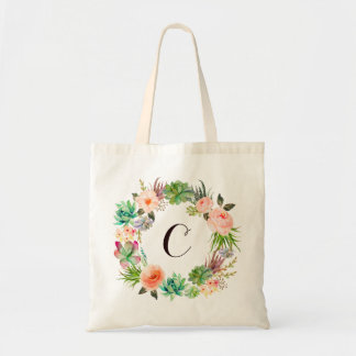 Stylish Floral Watercolor Modern Monogram Tote Bag