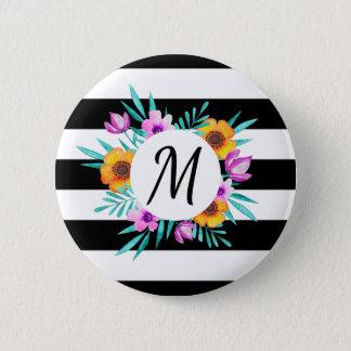Stylish Floral Wreath Black Stripes Monogram Button