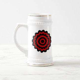Stylish Flower in Black and Dark Red. Beer Stein