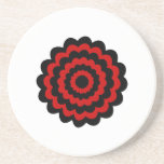 Stylish Flower in Black and Dark Red. Drink Coasters
