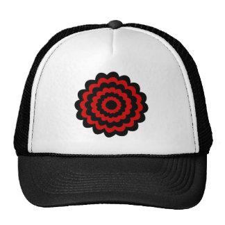 Stylish Flower in Black and Dark Red. Trucker Hat