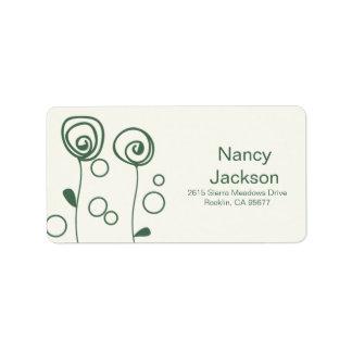 Stylish Flowers - Green Personalized Address Label