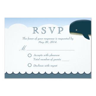 Stylish Flying Whale Wedding RSVP Card