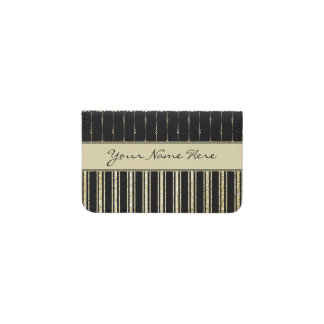Stylish Formal Black and Gold Stripes Business Card Holder