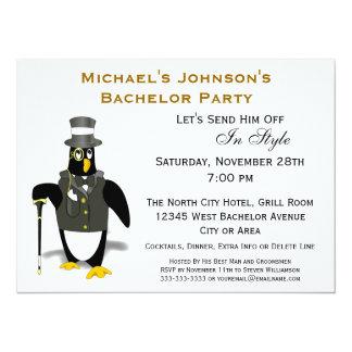 Stylish Formal Tuxedo Penguin Bachelor Party Card