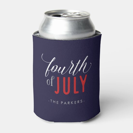 Stylish Fourth of July Typography Can Cooler