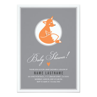 Stylish Fox Cute Baby and Mommy Baby Shower Invite