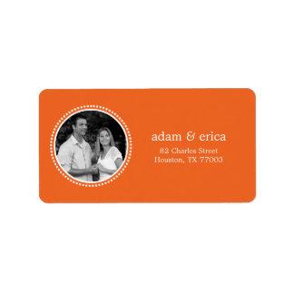 Stylish Frame Photo Address Labels (Orange) Labels