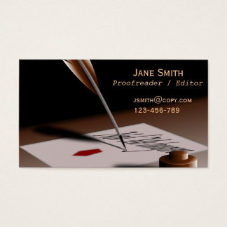 Stylish freelance Proofreader with vintage quill Business Card
