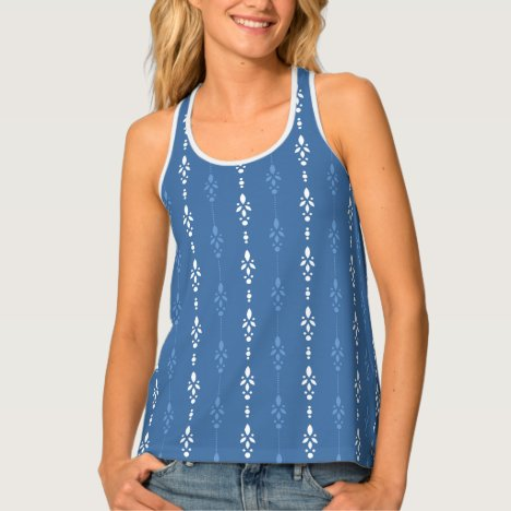 Stylish french blue crystal showers pattern tank top