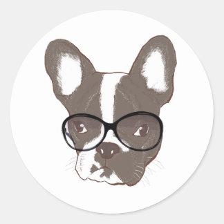 Stylish french bulldog classic round sticker