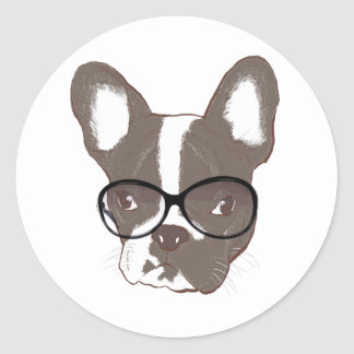 Stylish french bulldog round stickers
