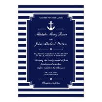 Stylish Fresh Nautical Blue White Wedding Invite