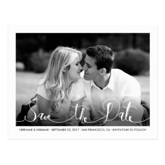 Stylish Fresh White Save the Date Photo Postcard