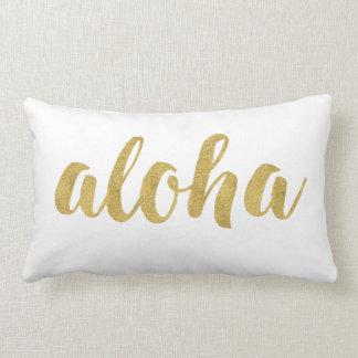 Stylish Fun Hello Aloha In Gold Decorative Lumbar Pillow
