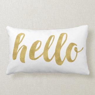 Stylish Fun Hello In Gold Decorative Lumbar Pillow