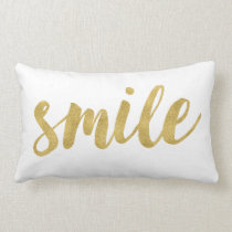 Stylish Fun Smile In Gold Decorative Lumbar Pillow
