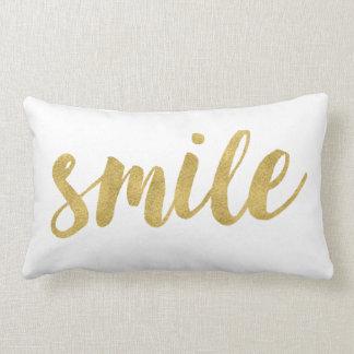 Stylish Fun Smile In Gold Decorative Lumbar Pillow