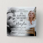 """Stylish Funeral Memorial Before & After Photo Button<br><div class=""""desc"""">Remember a loved one with this gorgeous stylish before and after button, featuring 2 photographs of your family member or friend, (one when they were younger and the other when they were older), an elegant template with the heading 'In loving memory' their name or relation in handwritten calligraphy script font...</div>"""