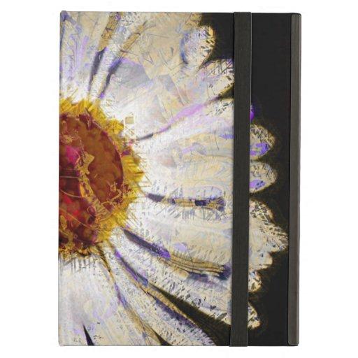 Stylish Funky Abstract Daisy White Flower Art iPad Folio Case