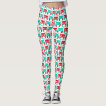 stylish funny cartoon owl legging