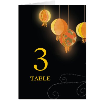 Stylish Garden Lanterns Wedding Table Numbers Stationery Note Card