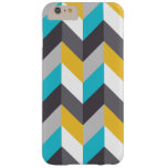 Stylish Geometric Blue Yellow Gray Pattern Barely There iPhone 6 Plus Case