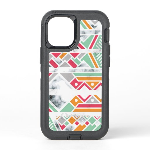 Stylish Geometric Modern Girly Marble Chic OtterBox Defender iPhone 12 Mini Case