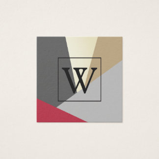 Stylish Geometric Natural Color Blocks Monogram Square Business Card