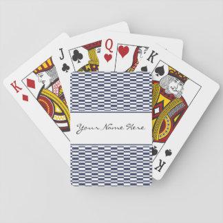Stylish Geometric Navy Blue & White Pattern Playing Cards