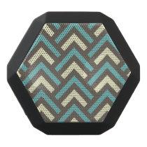 Stylish Geometric Triangles Retro Stripes Pattern Black Bluetooth Speaker