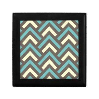 Stylish Geometric Triangles Retro Stripes Pattern Jewelry Boxes