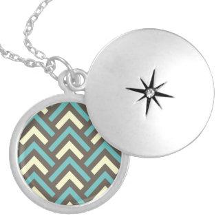 Stylish Geometric Triangles Retro Stripes Pattern Round Locket Necklace