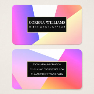 Stylish Geometric Vibrant Color Blocks Business Card