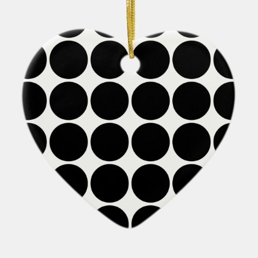 Stylish Gifts for Girls Black Polka Dots on White Double-Sided Heart Ceramic Christmas Ornament
