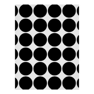 Stylish Gifts for Girls Black Polka Dots on White Poster