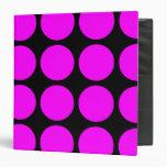 Stylish Gifts for Girls : Pink Polka Dots on Black Vinyl Binder