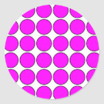 Stylish Gifts for Girls : Pink Polka Dots on White Round Sticker