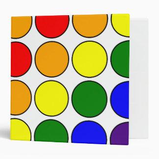 Stylish Gifts for Girls : Rainbow Polka Dots 3 Ring Binder