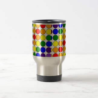 Stylish Gifts for Girls : Rainbow Polka Dots 15 Oz Stainless Steel Travel Mug