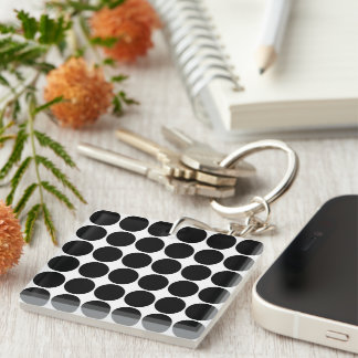 Stylish Gifts for Her : Black Polka Dots Single-Sided Square Acrylic Keychain