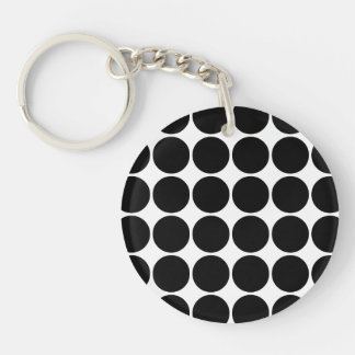 Stylish Gifts for Her : Black Polka Dots Single-Sided Round Acrylic Keychain