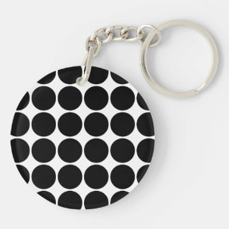 Stylish Gifts for Her : Black Polka Dots Double-Sided Round Acrylic Keychain