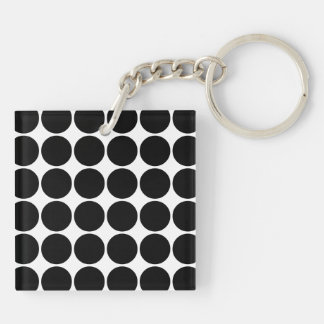 Stylish Gifts for Her : Black Polka Dots Double-Sided Square Acrylic Keychain