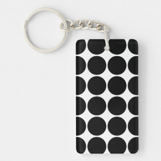 Stylish Gifts for Her : Black Polka Dots Double-Sided Rectangular Acrylic Keychain
