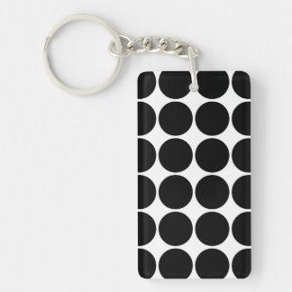 Stylish Gifts for Her : Black Polka Dots Single-Sided Rectangular Acrylic Keychain