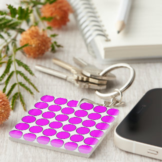 Stylish Gifts for Her: Pink Polka Dots Single-Sided Square Acrylic Keychain