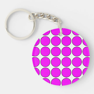 Stylish Gifts for Her: Pink Polka Dots Single-Sided Round Acrylic Keychain
