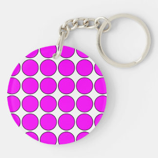 Stylish Gifts for Her: Pink Polka Dots Double-Sided Round Acrylic Keychain